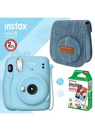 Instax Instax Mini 11 Mavi Fotoğraf Makinesi Ve Jean Çantalı Hediye Seti 3 Mavi